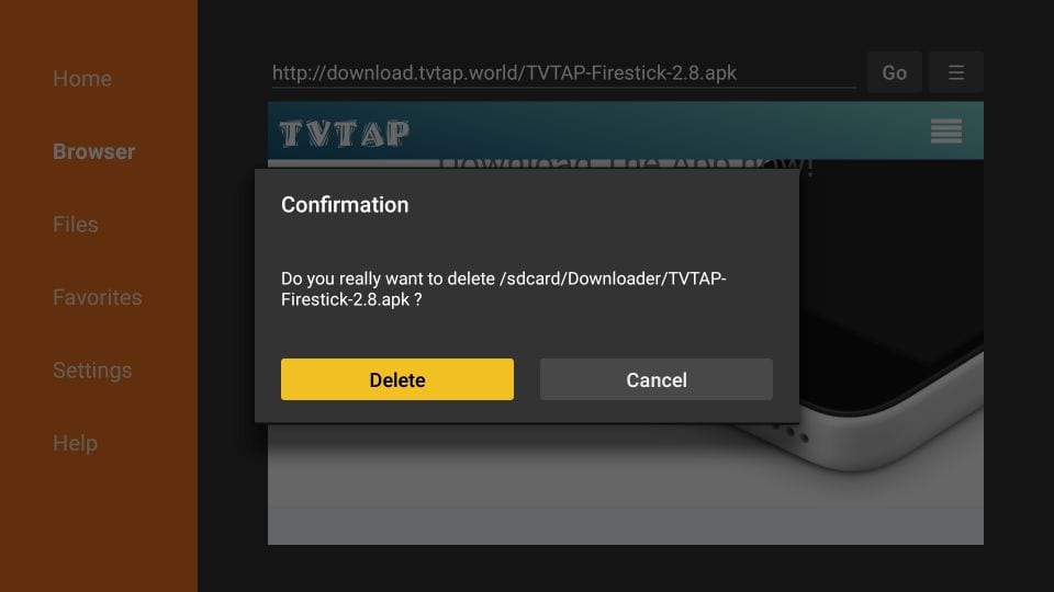 delete TVTAP APK from firestick